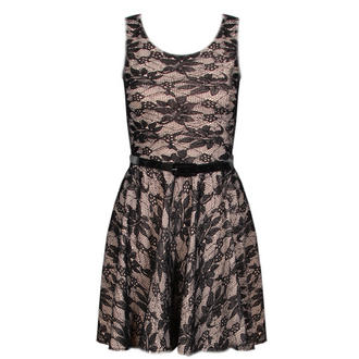 View Item Cream Sleeveless Belted Skater Dress with Black Floral Lace Print